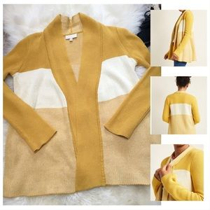 ModCloth yellow color block open front cardigan M